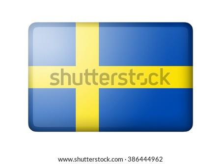 The Swedish flag. Rectangular matte icon. Isolated on white background. - stock photo