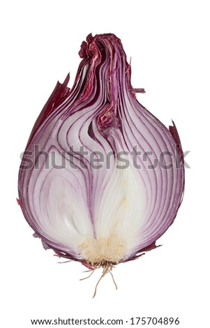 the sweet red onion sliced onion in half. red/purple skin, white flesh insides that contain shades of purple, hairy root and stem are visible. white background - stock photo