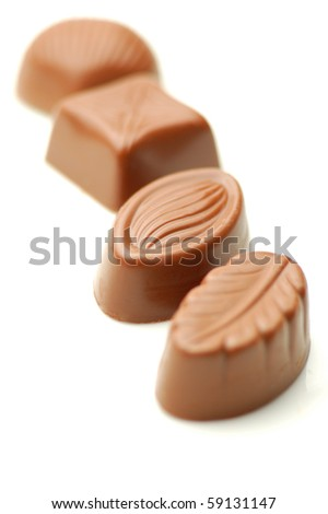 The sweets of the milk chocolates - stock photo
