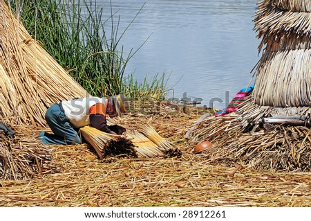 The swimming islands of the Uros people in Puno, Peru