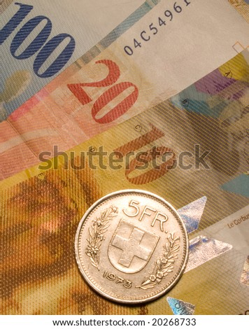 The swiss currency closeup background - stock photo