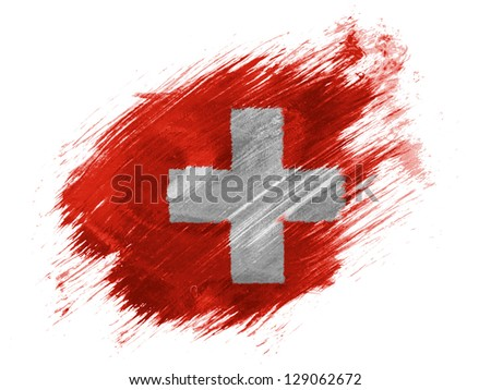 The Swiss flag  painted with brush on white background - stock photo
