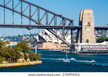 The Sydney CBD and surrounding harbour from Balls Head Reserve on a summer day on February 8th 2015. - stock photo