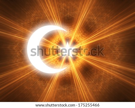 The symbol of Islam with a crescent and star - stock photo