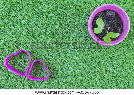 The symbol of the heart, The symbol of love, on the lawn./ Potted plants on the lawn. - stock photo