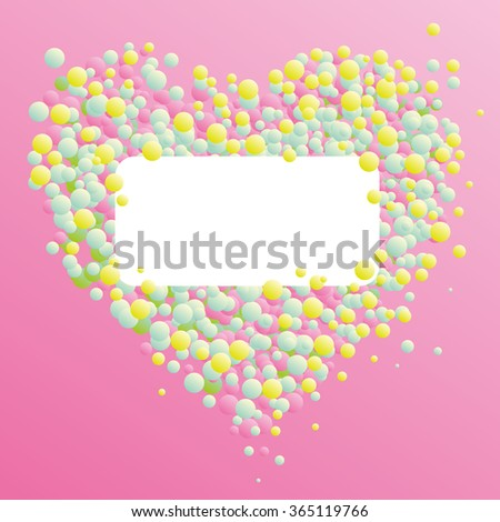 The symbol of Valentine's Day heart from balls and circles on a pink background with empty place for an inscription, text, design concept for greeting card and invitation for a wedding, engagement
