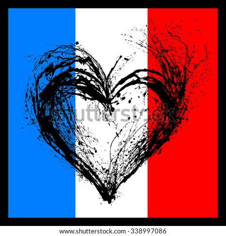 The symbolic image of a broken heart in the colors of the French flag. Date 13 11 2015 - the day of terrorist attack in Paris. - stock photo