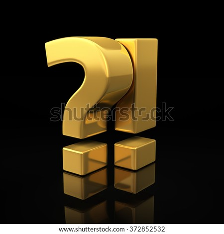 The symbolic image of amazement or misunderstanding. Gold symbols of question and exclamation marks on a black. 3D illustration image for summary and reports - stock photo