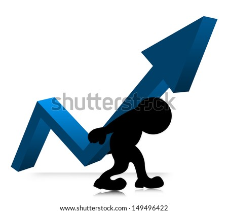 The Symbolizing Growth and Development of Business, The Man Carry Blue Arrow Graph on His Back Isolated on White Background  - stock photo