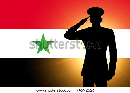 The Syria flag and the silhouette of a soldier's military salute