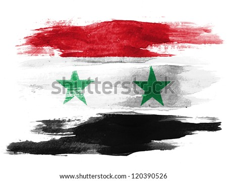 The Syria flag painted on white paper with watercolor - stock photo