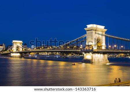 The Szechenyi Chain Bridge in Budapest,Hungary - stock photo