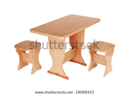 The table and stools are isolated on a white background - stock photo
