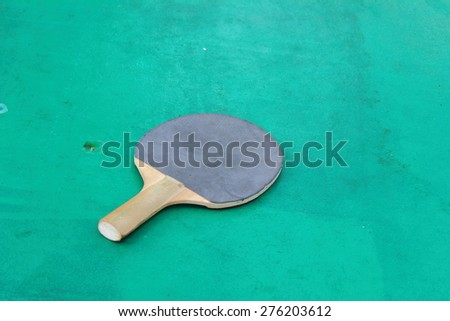 the table for table tennis racket lies - stock photo