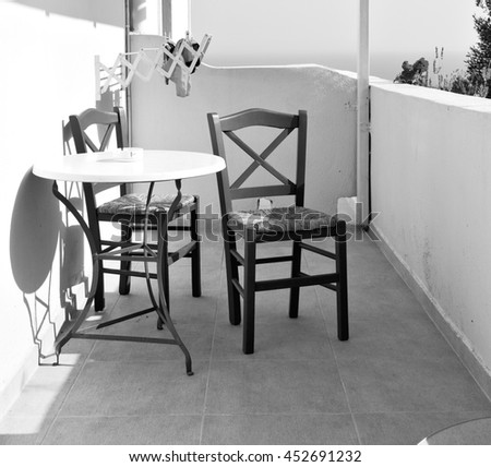 the table  in santorini europe  greece old restaurant chair    and summer