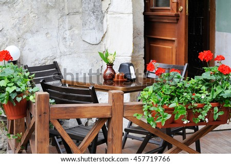 The table in the bar on the summer terrace.