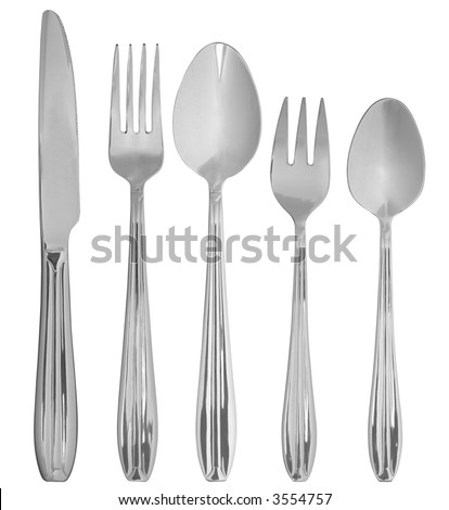 The table knife, fork, spoon isolated on the white background - stock photo