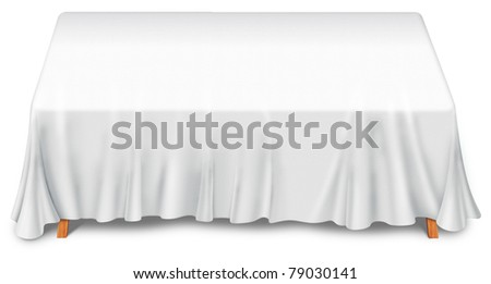 the table with white tablecloth cover - stock photo