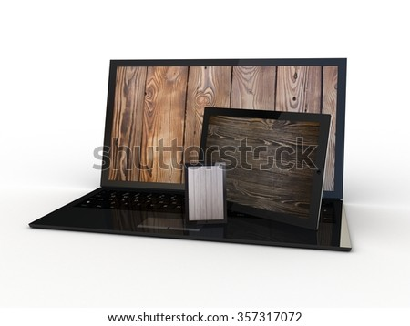 The tablet, smartphone and laptop with wooden on the screen - stock photo