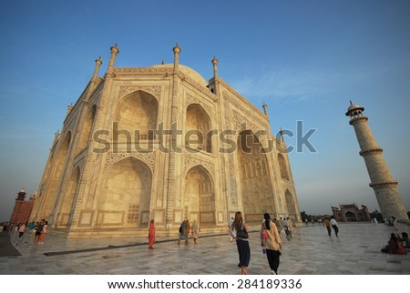 """The Taj Mahal is regarded by many as the best example of Mughal architecture and is widely recognized as """"the jewel of Muslim art in India"""". - stock photo"""