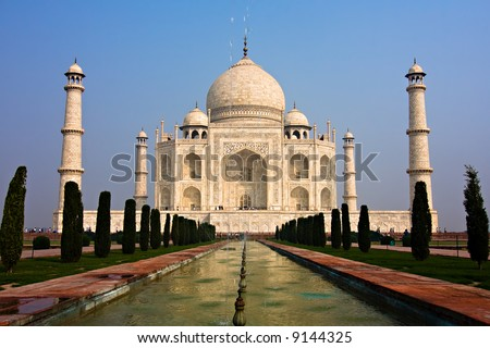The Taj Mahal mausoleum - Agra, Uttar Pradesh, India - stock photo