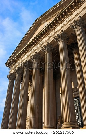 The tall pillars of St. George's Hall, Liverpool, England, UK. - stock photo