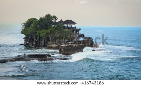 The Tanah Lot Temple at the sunset, the most important indu temple of Bali, Indonesia.