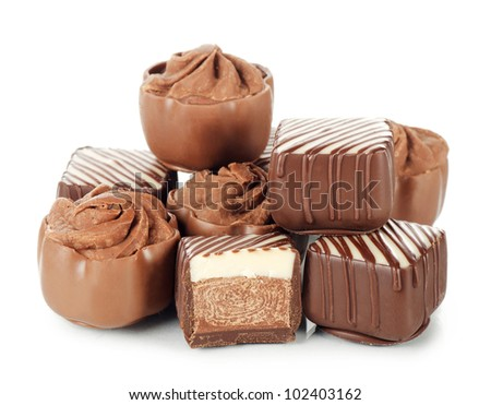 The tasty sweets from a milk chocolate - stock photo