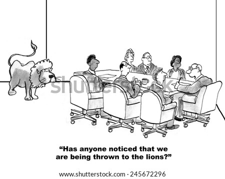The team leader feels that they are being thrown to the lions. - stock photo