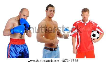 The team of great athletes from different sports. isolated on a white background - stock photo
