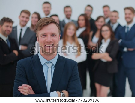 The team of the successful people with their boss
