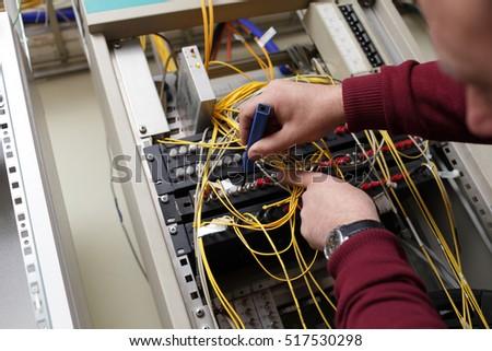Technician Cleaning Fiber Optic On Telecom Stock Photo (Royalty Free ...