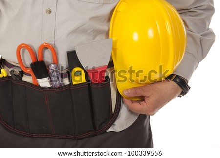 The technician on the isolated white background - stock photo