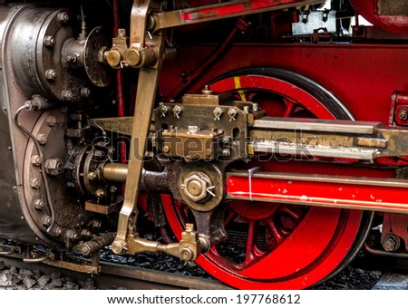 The technology of the steam locomotive - stock photo