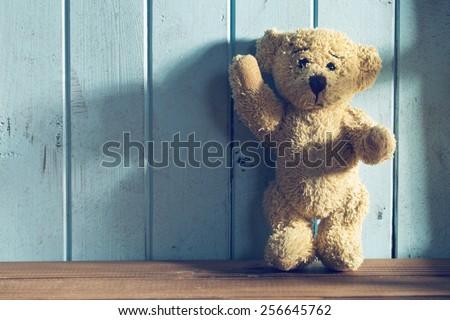 the teddy bear stands in front of a blue wall - stock photo