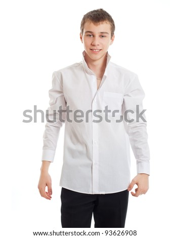 The teenager in a white shirt - stock photo
