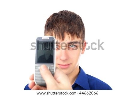 The teenager photograph on a mobile phone - stock photo