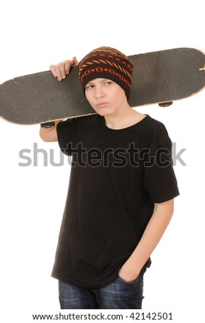 The teenager with a skateboard and in a hat isolated on white background