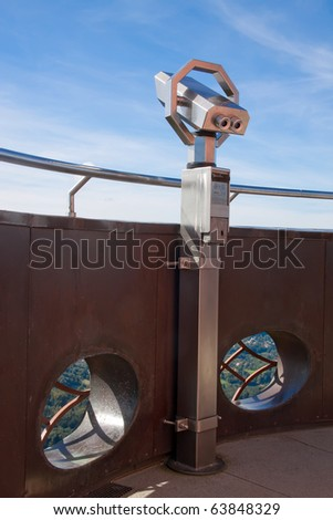 The telescope on the observation tower. - stock photo
