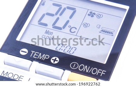 the temperature screen of air conditioning remote control on the white background