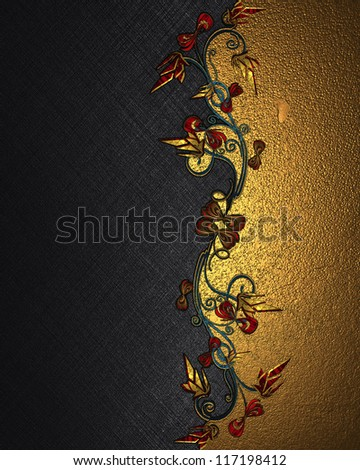 The template for the inscription. Beautiful black Background with abstract plant pattern and gold nameplate from the side for writing. - stock photo