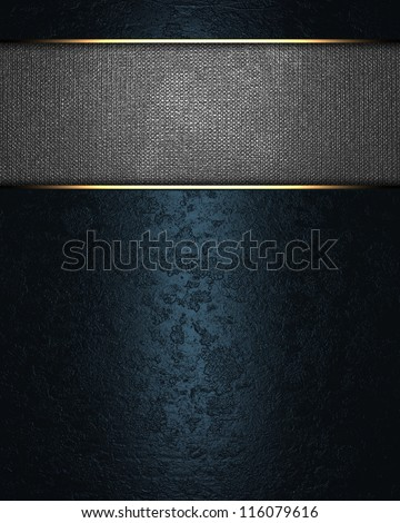 The template for the inscription. Beautiful blue background with a metal nameplate for writing. - stock photo