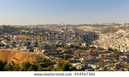 The Temple Mount in Jerusalem, the capital of Israel, the view from afar - stock photo
