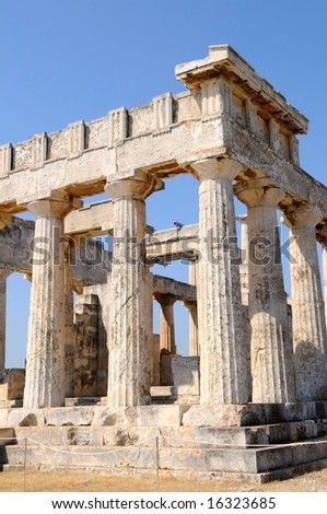 the temple of Apollo on Aegina island, Greece - stock photo