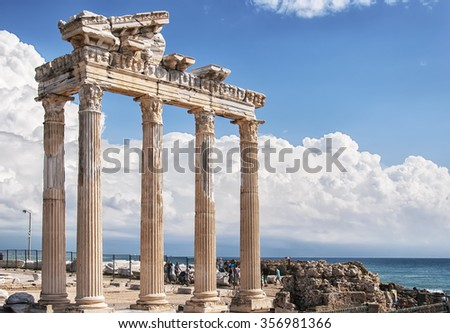 The Temple of Apollo situated in the Turkish town of Side. - stock photo