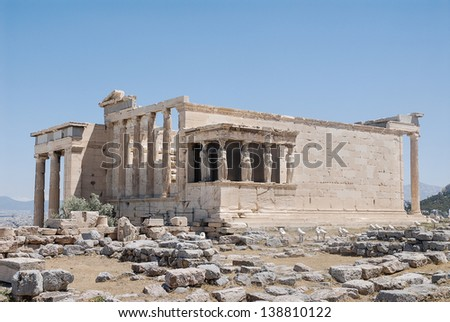 The Temple of Erechtheion in the Acropolis of Athens