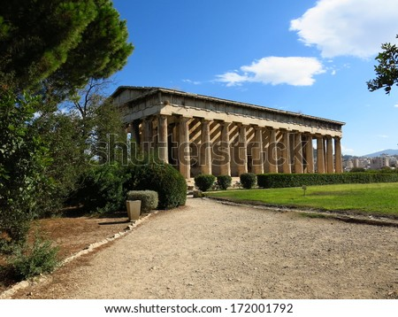 The Temple of Hephaestus Hephaisteion or earlier as the Theseion - stock photo