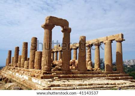 The Temple of Juno - ancient Greek landmark in Agrigento, Sicily. It is the UNESCO World Heritage Site