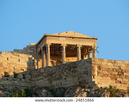 the temple of nike viewed from the foot of the mountain supporting the acropolis