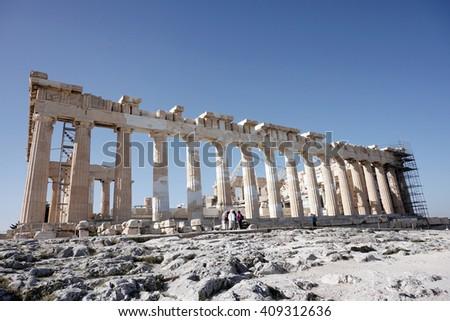 The temple of Parthenon on Acropolis, Athens, Greece - stock photo